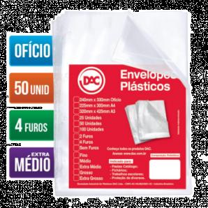 ENVELOPES PLÁSTICOS OFÍCIO EXTRA MÉDIO DAC COM 50 UNIDADES