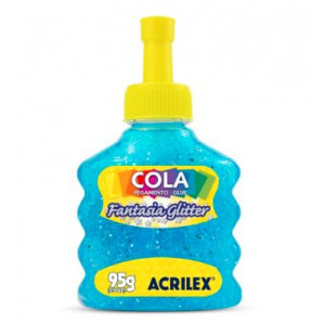 COLA GLITTER ACRILEX FANTASIA 95G AZUL