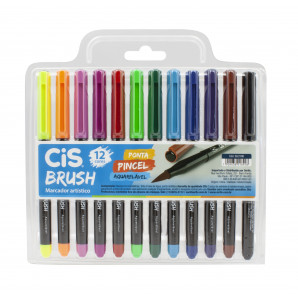 MARCADOR CIS BRUSH AQUARELÁVEL COM 12 UNIDADES