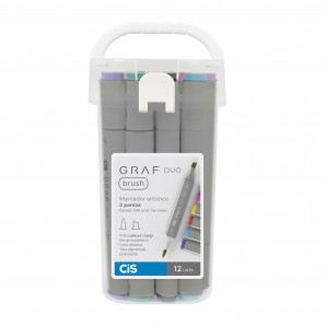 MARCADOR CIS GRAF DUO BRUSH COM 12 UNIDADES