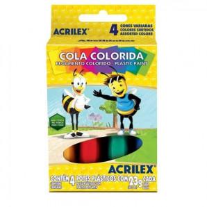 COLA COLORIDA ACRILEX COM 4 UNIDADES