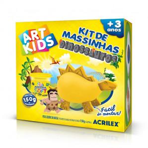 KIT DE MASSINHAS DE MODELAR ART KIDS DINOSSAUROS AMARELOS ACRILEX