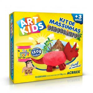 KIT DE MASSINHAS DE MODELAR ART KIDS DINOSSAUROS VERMELHOS ACRILEX