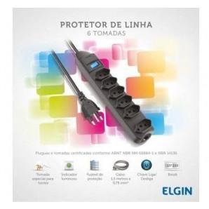 PROTETOR DE LINHA ELGIN COM 6 TOMADAS