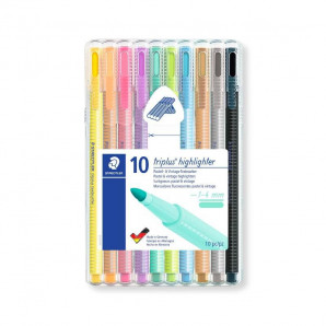 MARCA TEXTO STAEDTLER TRIPLUS HIGHLIGHTER TEXTSURFER TONS PASTEL COM 10 UNIDADES