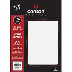 PAPEL CANSON DIGITAL 180G VERGÊ BRANCO 50 FOLHAS