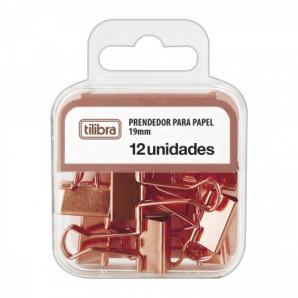PRENDEDOR DE PAPEL TILIBRA OURO ROSE COM 12 UNIDADES