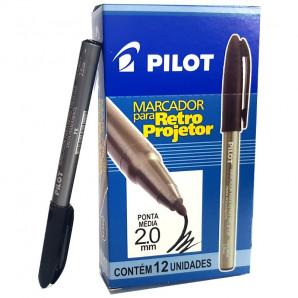 MARCADOR PILOT RETRO PROJETOR PRETO 2.0MM COM 12 UNIDADES