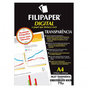 FILIPAPER DIGITAL INKJET TRANSPARÊNCIA FILIPERSON SEM TARJA  COM 10 UNIDADES