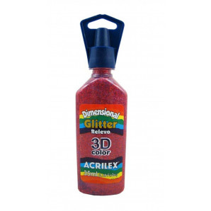 TINTA DIMENSIONAL GLITTER 35ML RELEVO 3D COLOR ACRILEX 205 VERMELHO