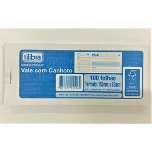 VALE COM CANHOTO TILIBRA COM 100 FOLHAS